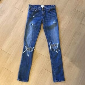 Current Elliot distressed straight leg jeans